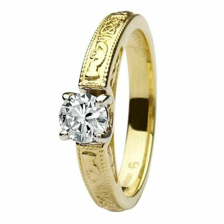 Claddagh Celtic Diamond Ring- 14kt Yellow and White Gold Ring, Solitaire Round Cut Diamond