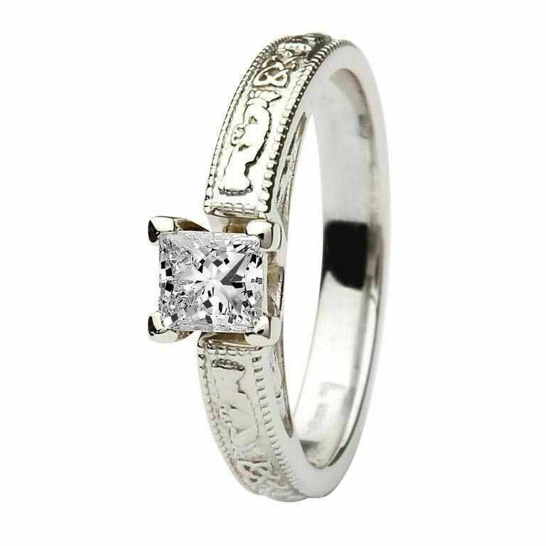 Claddagh Celtic Diamond Ring- 14kt White Gold, Solitaire Princess Cut Diamond