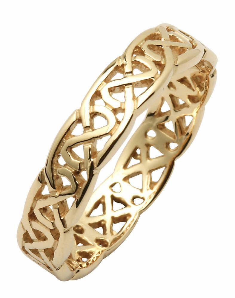 Ladies 14kt Gold Narrow Pierced Trinity Knot Wedding Band