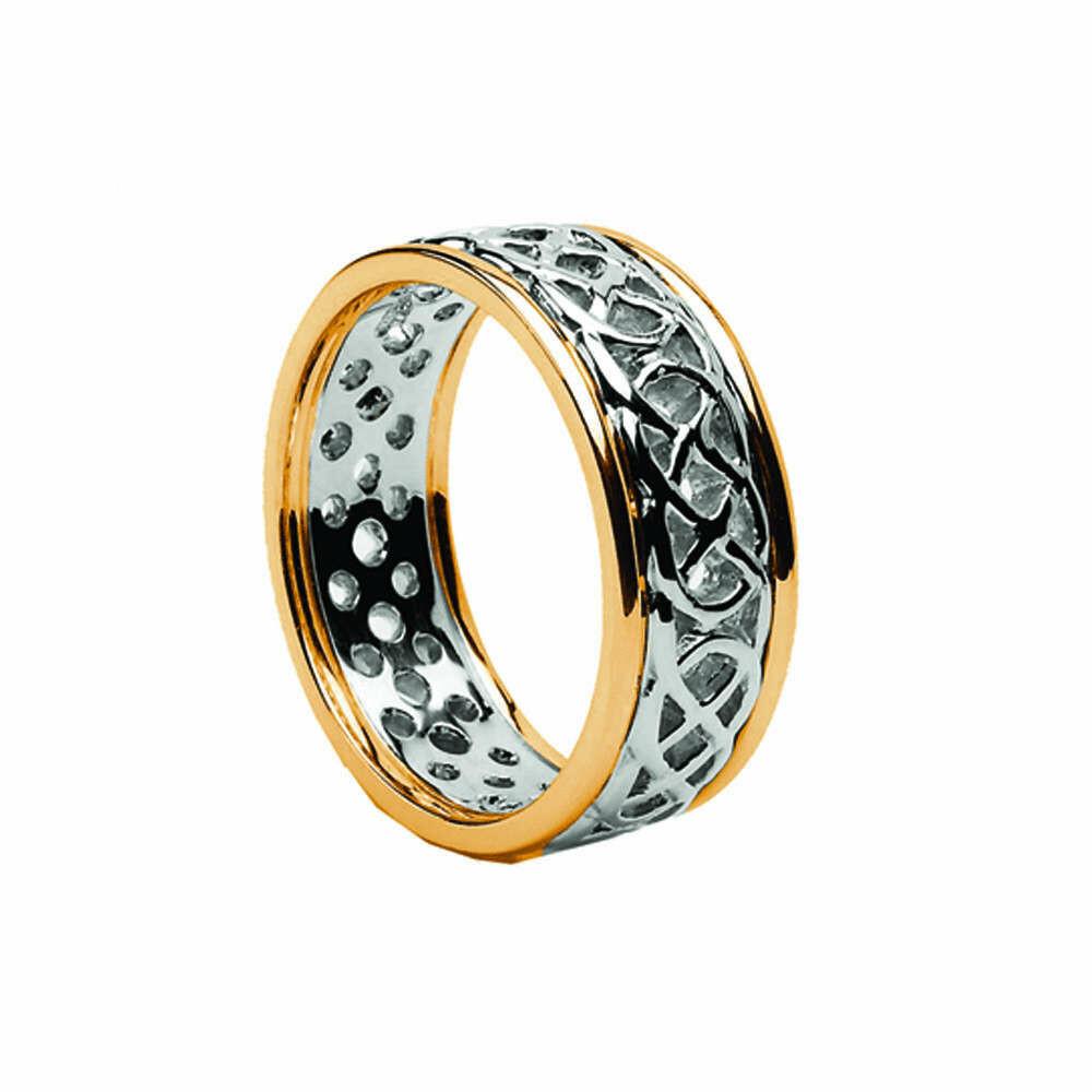 Ladies 10kt White Gold/Yellow Gold Trim Pierced Celtic Wedding Band