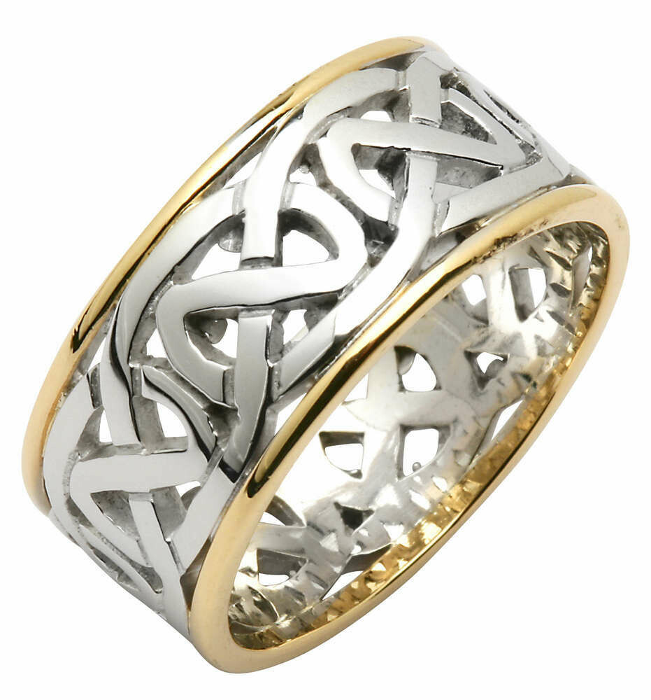 Mens 14kt White/Yellow Gold Heavy Pierced Trinity Knot Wedding Band