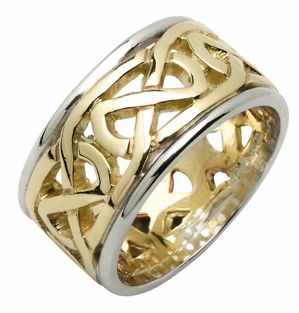 Ladies 14kt Yellow/White Gold Heavy Pierced Trinity Knot Wedding Band