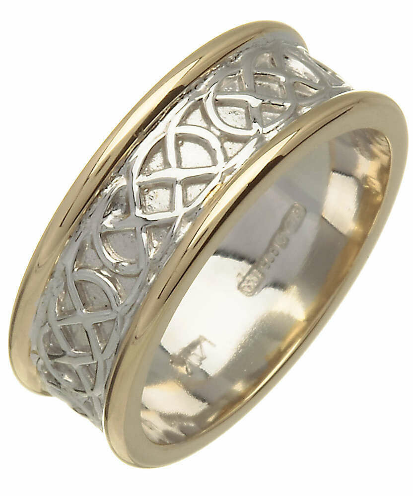 Mens 14kt Gold Yellow Edge/White Center Trinity Knot Wedding Band