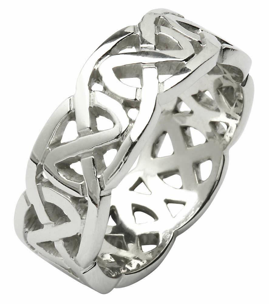 Mens 14kt Gold Heavy Pierced Trinity Knot Wedding Band