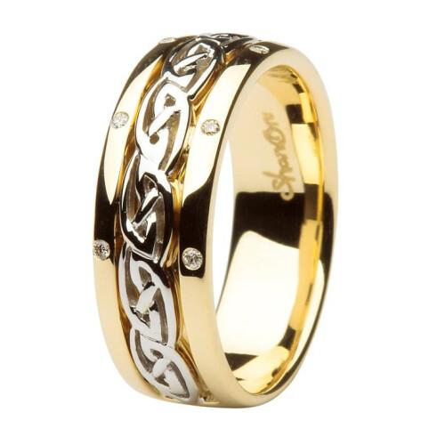 Ladies 14kt Gold Celtic Wedding Ring Diamond Set Comfort Fit