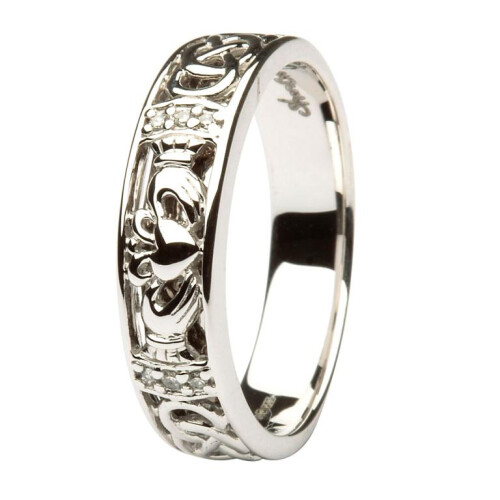 Ladies 14kt White Gold Claddagh Diamond Wedding Ring With Celtic Knot Design