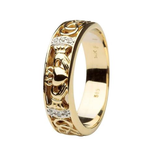 Gents 14kt Gold Claddagh Wedding Band Diamond Set with Celtic Knotwork