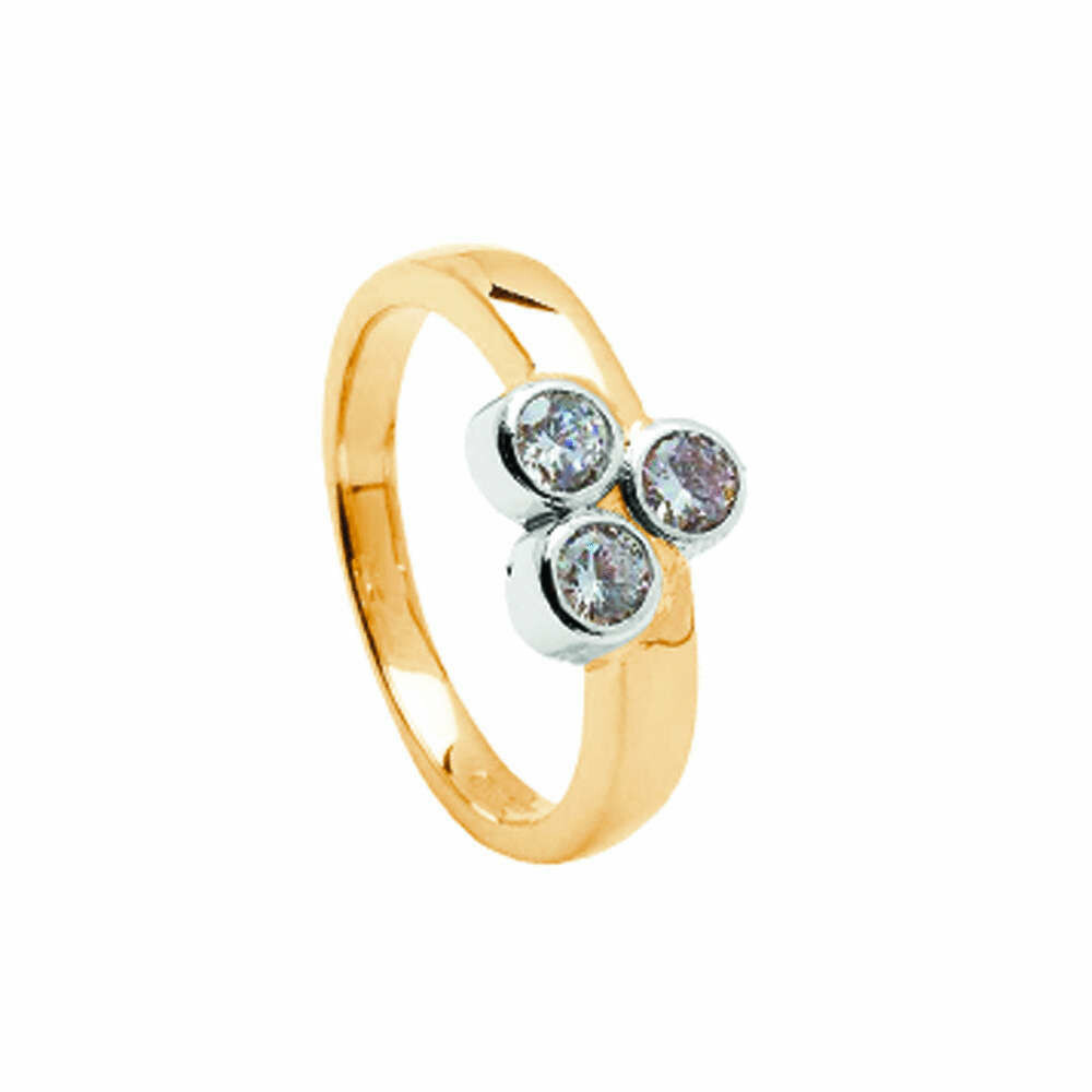 14kt Gold 3 Stone Diamond 3 x 0.16cts Engagement Ring