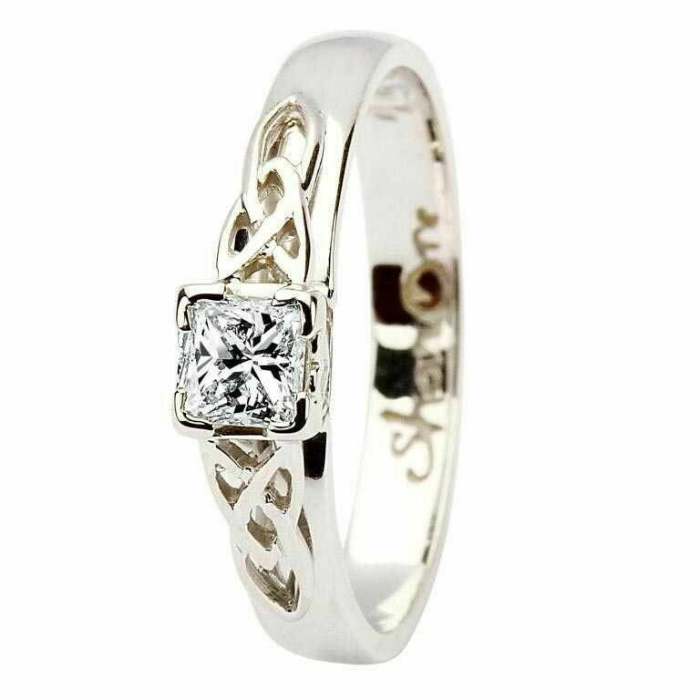 Celtic Trinity Knot Ring- 14kt White Gold, Solitaire Princess Cut Diamond