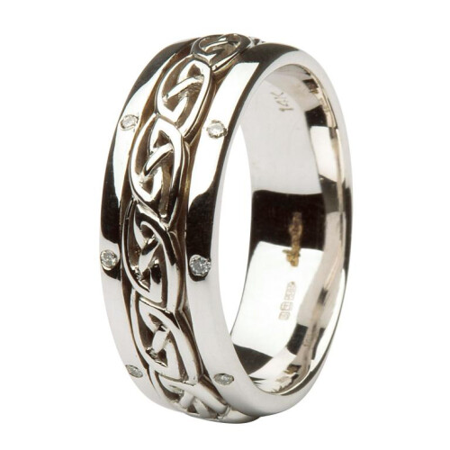 Ladies 14kt White Gold Celtic Wedding Ring Diamond Set Comfort Fit