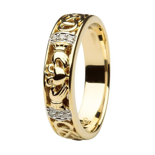 Ladies 14kt Gold Claddagh Diamond Wedding Ring With Celtic Knot Design