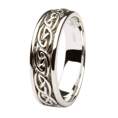 Gents 14kt White Gold Wedding Ring Celtic Knot Design