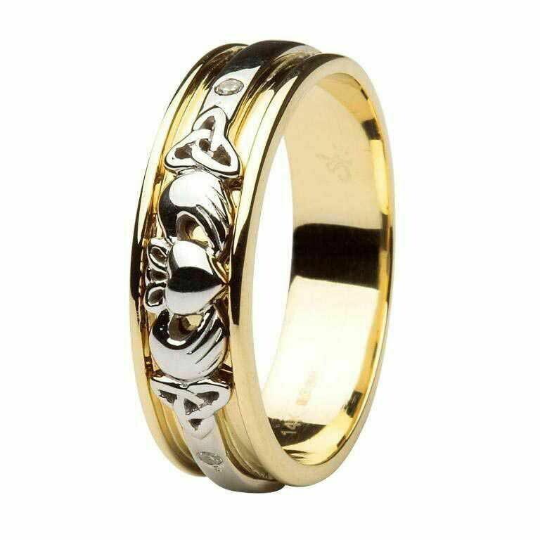 Gents 14kt Gold Diamond Set Celtic Claddagh Wedding Band