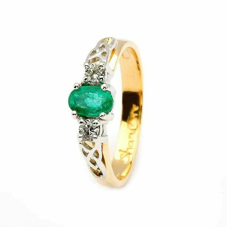 Celtic Trinity Knot Ring- 14kt Yellow and White Gold, Oval Emerald and 2 Brilliant Cut Diamonds