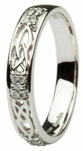 Ladies 14kt White Gold Celtic Wedding Band Diamond Set