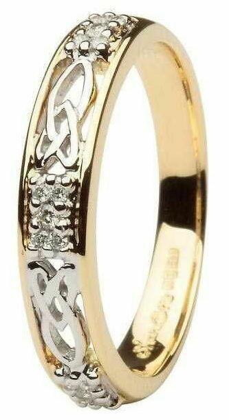 Ladies 14kt Gold Celtic Wedding Band Diamond Set