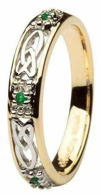 Ladies 14kt Gold Celtic Wedding Band Emerald and Diamond Set