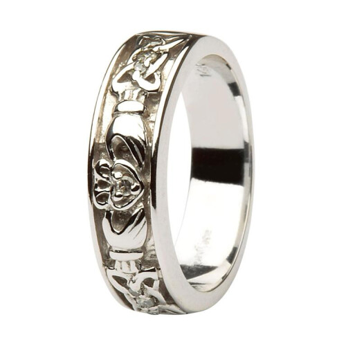 Ladies 14kt White Gold Claddagh Wedding Band Diamond Set with Celtic Knotwork