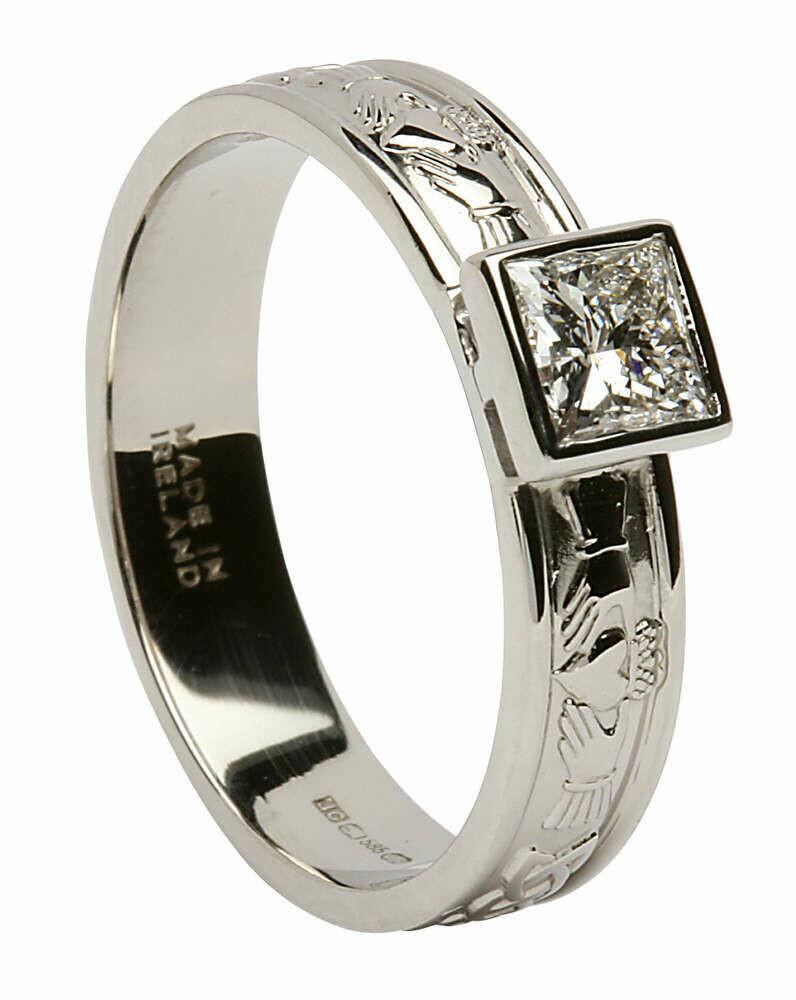 14kt Gold Corrib Claddagh Solitare Princess Cut Diamond