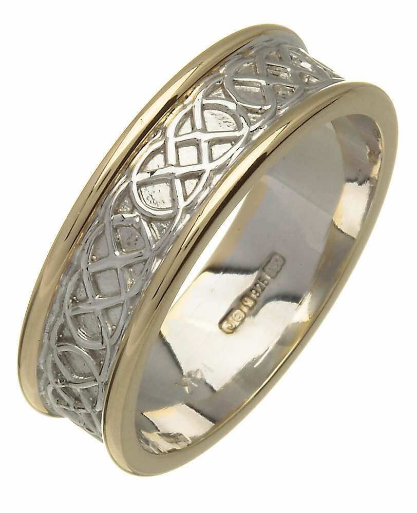 Mens 14kt Gold White Center/Yellow Edge Trinity Knot Wedding Band