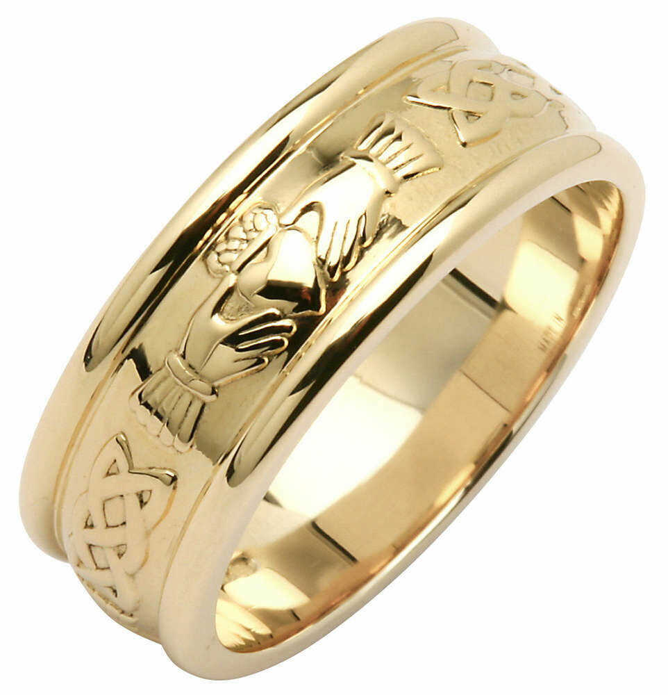 Ladies 14kt Gold Wide Claddagh/Celtic Corrib Wedding Band