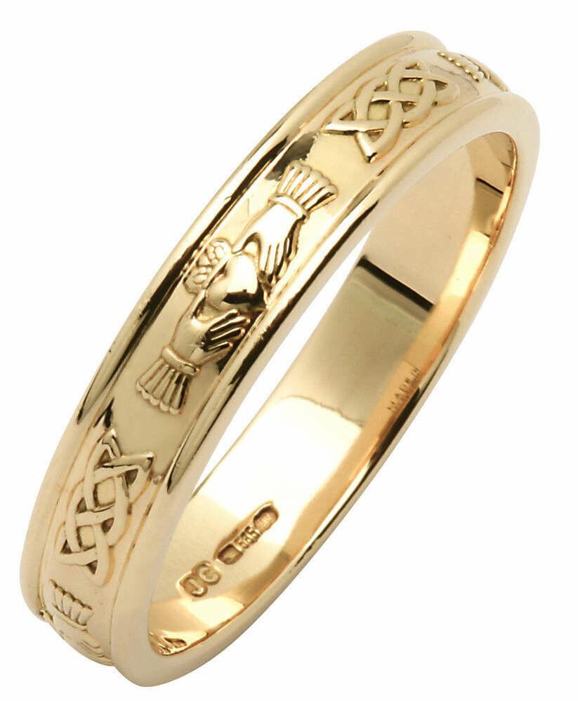 Ladies 14kt Yellow Gold Claddagh/Celtic Corrib Narrow Wedding Band
