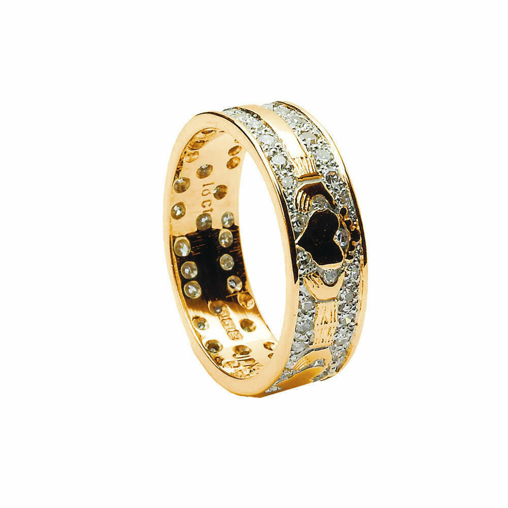 Mens 18kt Gold Diamond Pave Claddagh Wedding Band