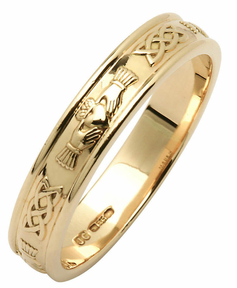 Mens 14kt Yellow Gold Claddagh/Celtic Corrib Narrow Wedding Band