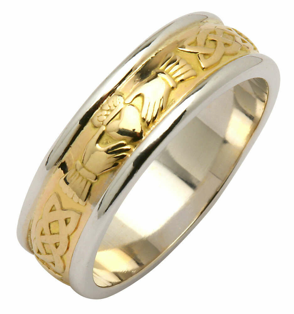 Ladies 14kt Yellow/White Gold Claddagh/Celtic Corrib Wedding Band