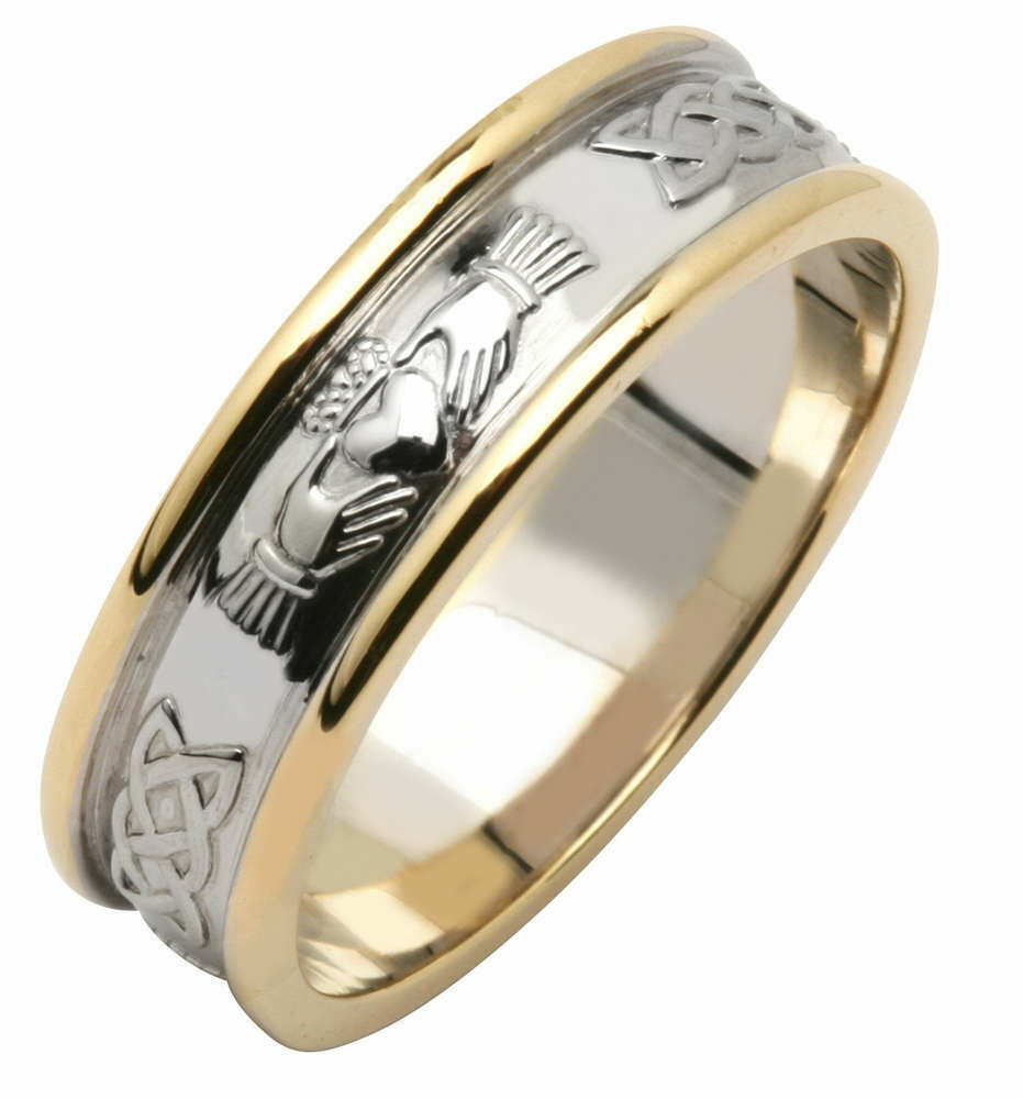 Ladies 14kt White/Yellow Gold Wide Claddagh/Celtic Corrib Wedding Band