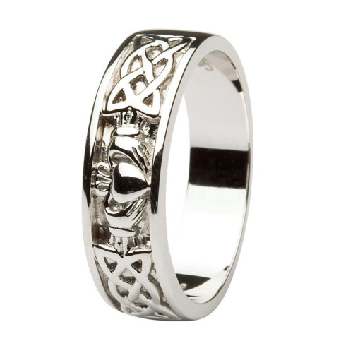 Gents 14kt White Gold Claddagh Wedding Ring with Celtic Knotwork
