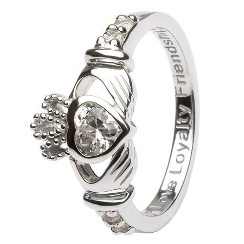 Claddagh April Birthstone Ring