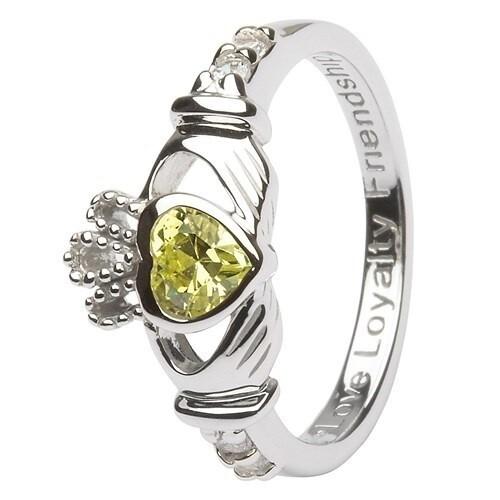 Claddagh August Birthstone Ring