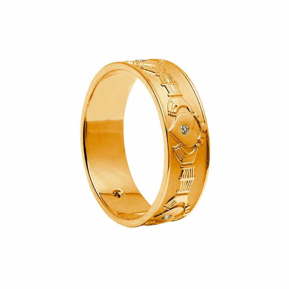 Mens 10kt Gold Diamond Set Claddagh Wedding Band