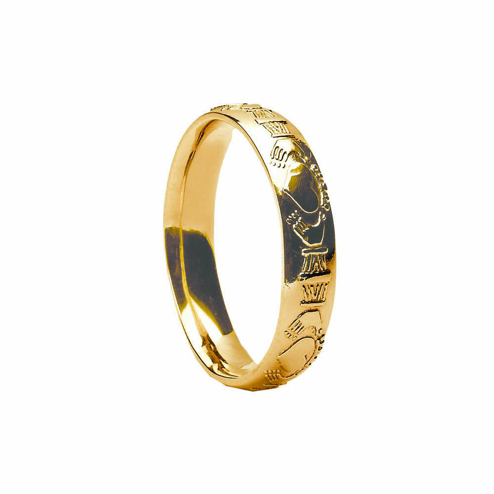 Mens 10kt Gold Court Claddagh Wedding Band
