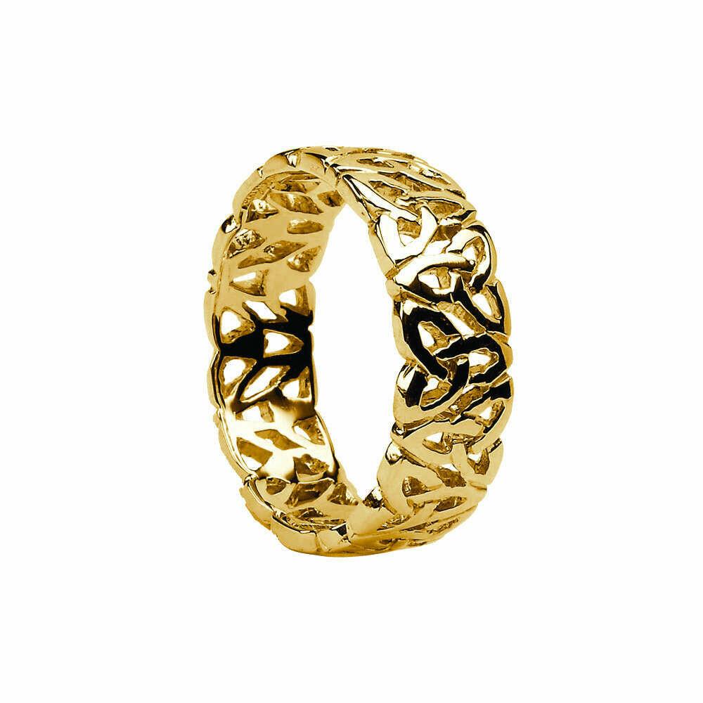 Mens 10kt Gold Trinity-Knot Filagree Celtic Wedding Band
