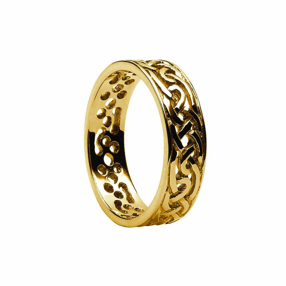 Mens 10kt Gold Filigree Celtic Wedding Band
