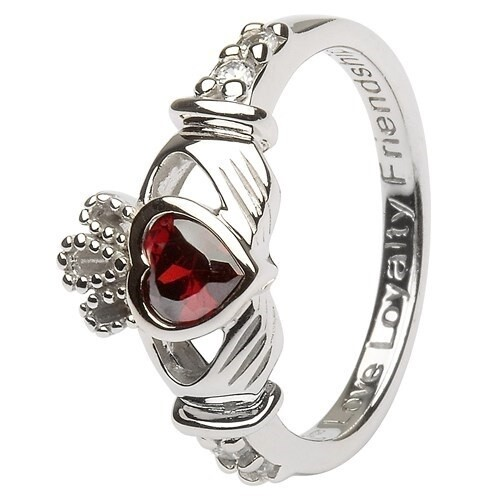 Claddagh January Birthstone Ring
