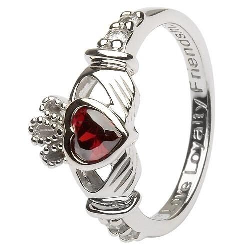 Claddagh January Birthstone Ring