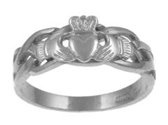 Ladies Sterling Silver Celtic Claddagh Ring