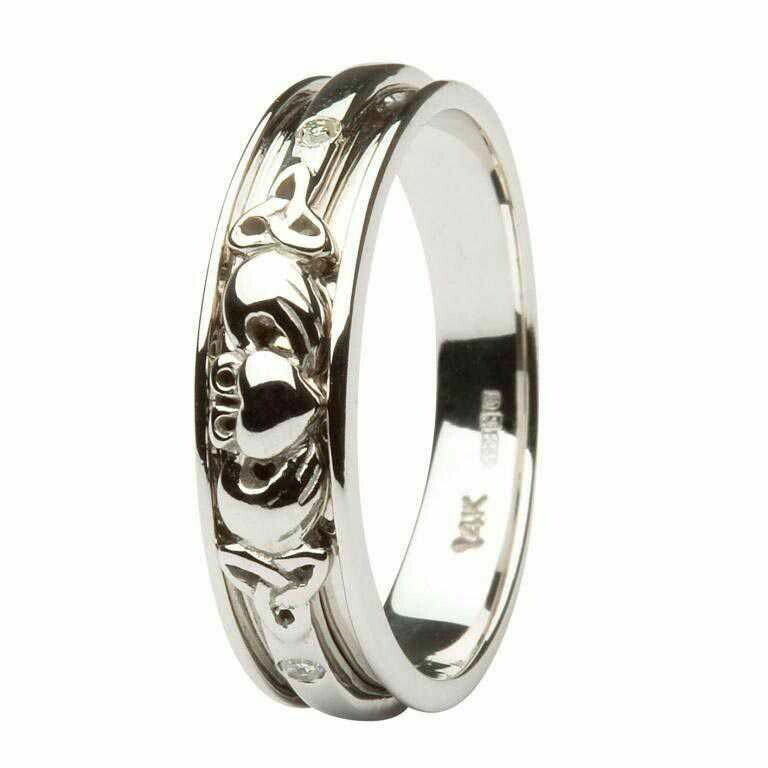 Ladies 14kt White Gold Diamond Set Celtic Claddagh Wedding Band
