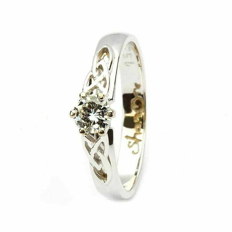 Celtic Trinity Knot Ring- 14kt White Gold, Solitaire Round Cut Diamond