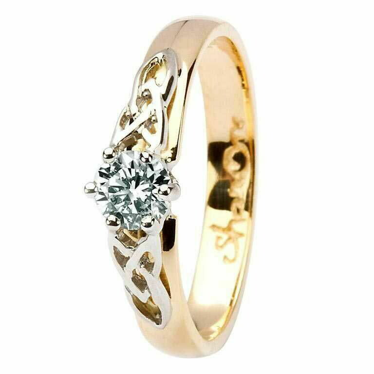 Celtic Trinity Knot Diamond Ring- 14kt Yellow and White Gold, Solitaire Round Cut Diamond
