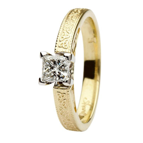 Celtic Diamond Ring- 14kt Yellow and White Gold, Solitaire Princess Cut Diamond