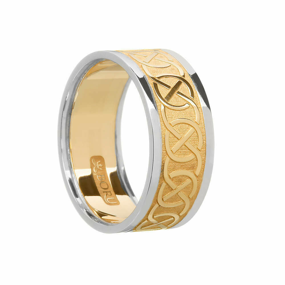 Mens 10kt Yellow Gold/White Trim Celtic Wedding Band