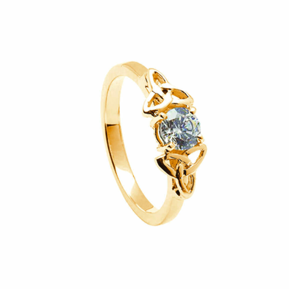 14kt Gold Diamond Trinity Engagement Ring- All Yellow