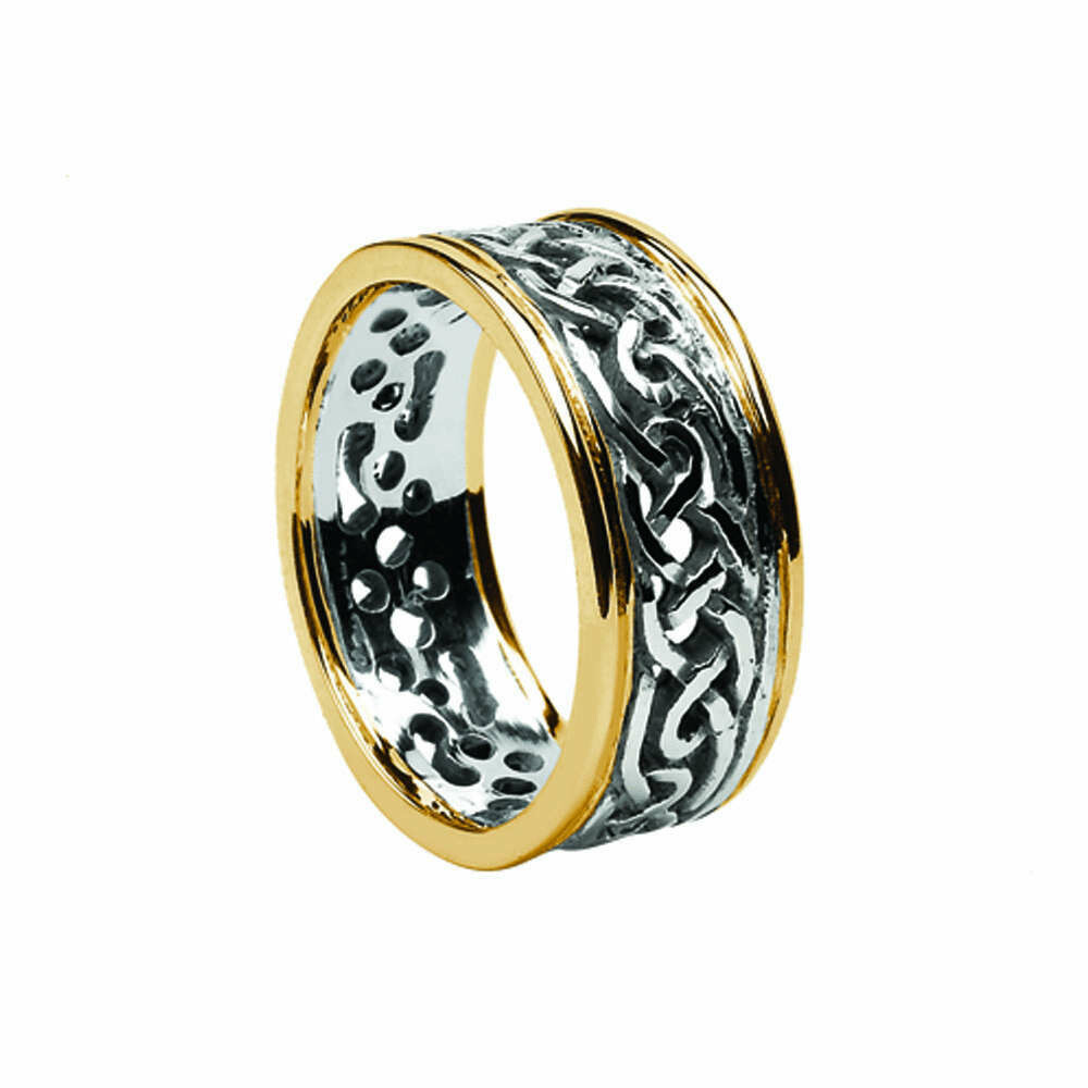 Mens 10kt Whtie Gold/Yellow Gold Trim Filagree Celtic Wedding Band
