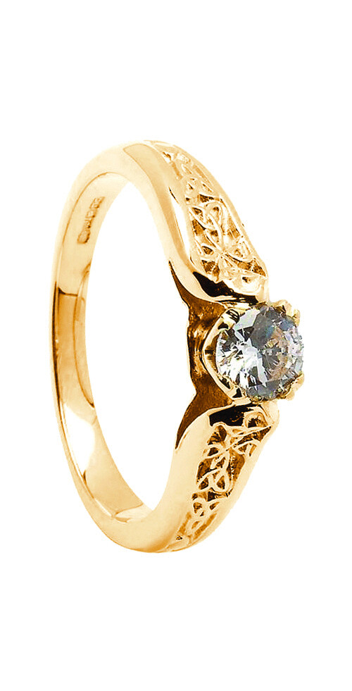 14kt Gold Diamond Trinity Engagement Ring 0.25cts