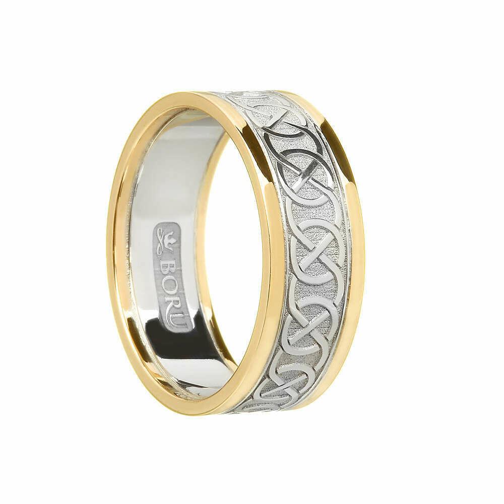 Ladies 10kt White Gold/Yellow Gold Trim Celtic Wedding Band