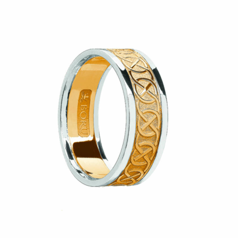 Ladies 10kt Yellow Gold/White Gold Trim Celtic Wedding Band